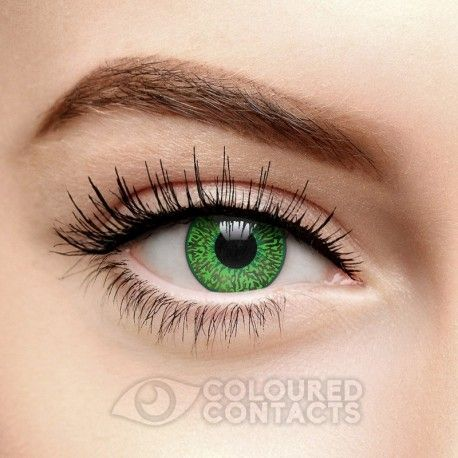 The Daily Coloured Contact Lenses in Mystic Green feature a bright green finish and a limbal ring. These single-use, disposable contacts are great for Cosplay, Halloween or costume parties! Available in one size.
