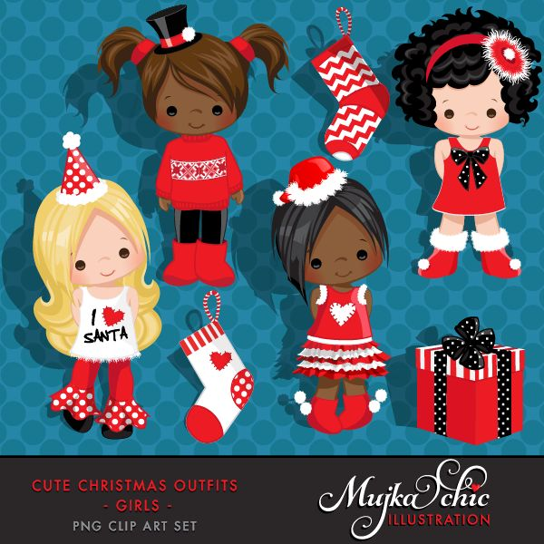 Cute Christmas Outfits for Girls Clipart Instant Download Christmas Graphics
