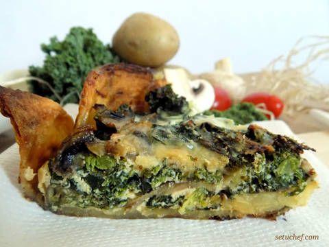 Fabulosa receta para Quiche de col kale o col rizada. Esta quiche es muy original y fácil de preparar. Es perfecta para soprender a tus comensales invitados a cenar :)