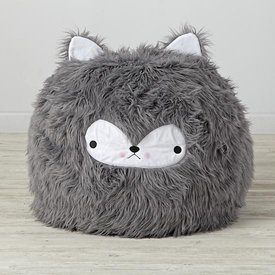 Shop Furry Wolf Bean Bag Chair. This furry grey wolf bean bag chair isn't ready to huff, puff, or blow your house down. It's just looking to provide your little ones with a unique and comfy seat.