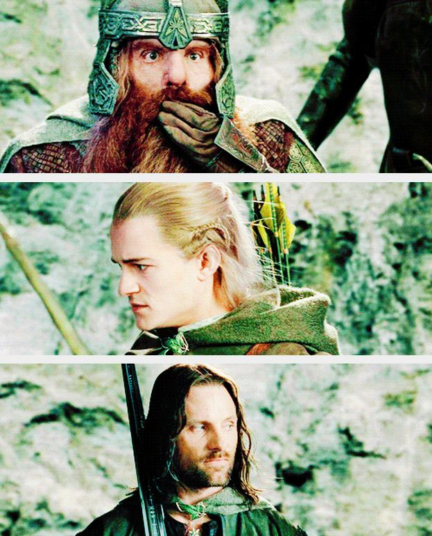 """Gimli is such a scamp, Legolas can't believe he let the dwarf mess up his shot, and Aragorn has the """"I can't take you two anywhere"""" look"""
