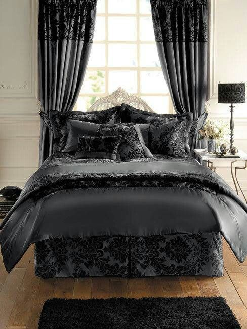 Beautiful Dark Bedding set... think Dracula sleeps here???
