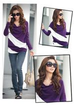 Fashion Women's Purple Batwing Casual Sleeve T-Shirt Tops Stripe Blouse Size M