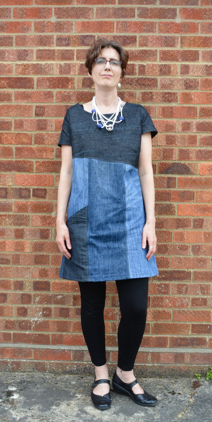 Upcycled Essential Denim Dress Pattern Review, dress made entirely from old jeans #recycledenim