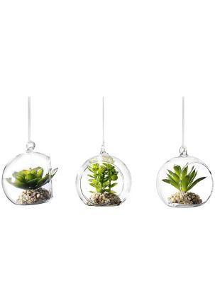 Декоративные камешки. Подвесная лента. Размер каждого кактуса в шаре ок. 9,5х9х7 см.