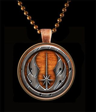 "The pendant is my rendition of star Wars Jedi Order Symbol design and set in 1 inch Round Antiqued Copper Bezel with 24"" Matching Copper Chain. The center is glass with my laser printed ART image seal"