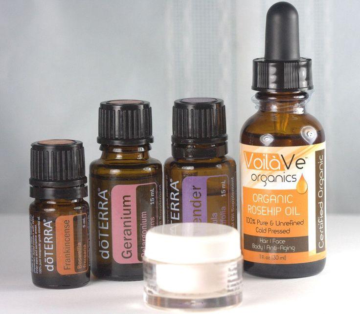 My Essential Oil Face Moisturizer Recipe using Rosehip oil, Frankincense, Geranium, and Lavender - heavenly!