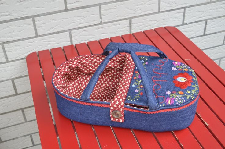 """doll carrier for children - American girl Bitty baby 15"""" - bassinet, doll bed - only for dolls - blue red - denim - hand embroidered by BagitKid on Etsy"""
