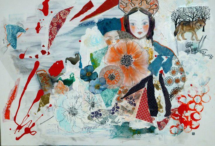 grand tableau art contemporain peinture acrylique turquoise les pavots d'Ukraine décoration moderne techniques mixtes collages : Peintures par cyane