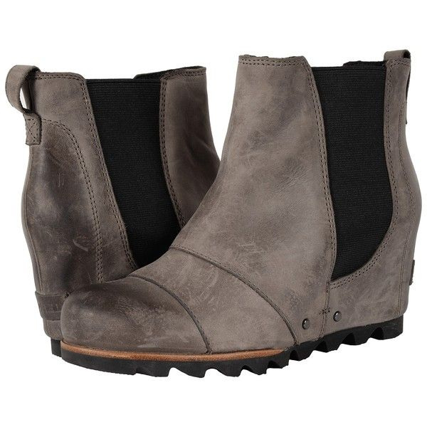SOREL Lea Wedge (Dark Grey) Women's Waterproof Boots ($200) ❤ liked on Polyvore featuring shoes, boots, ankle boots, platform boots, short boots, platform ankle boots, bootie boots and leather boots