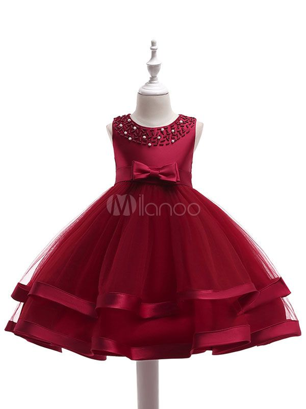 3330cea8cfe0 Flower Girl Dresses Burgundy Sleeveless Girls Pageant Dress Ankle Length  Kids Tutu Dress