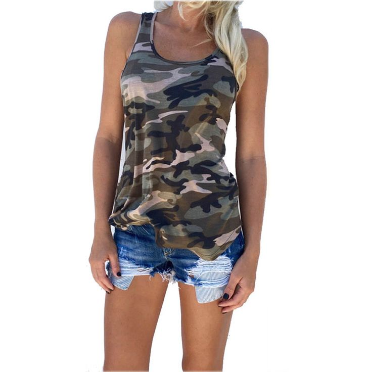 Fashion 2016 Women's Summer Tank Tops Camouflage Wild Round Neck Sleeveless Female Blouses Streetwear Casual Vest S/M/L/XL -Y102