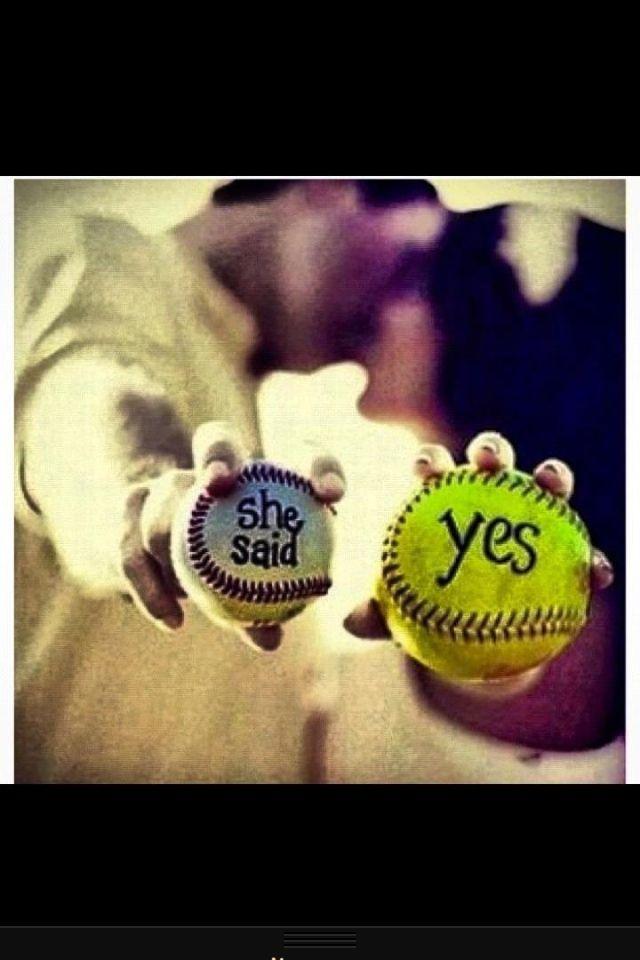 such an adorable idea for a softball/baseball wedding picture.