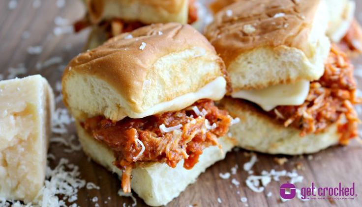 Slow Cooker Chicken Parmesan #Sliders - #easy #recipe for any night! from GetCrocked.com