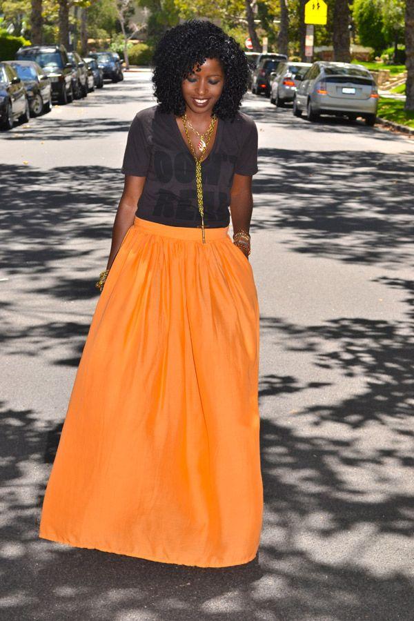 Style Pantry | V-Neck Tee + Neon Orange Maxi Skirt
