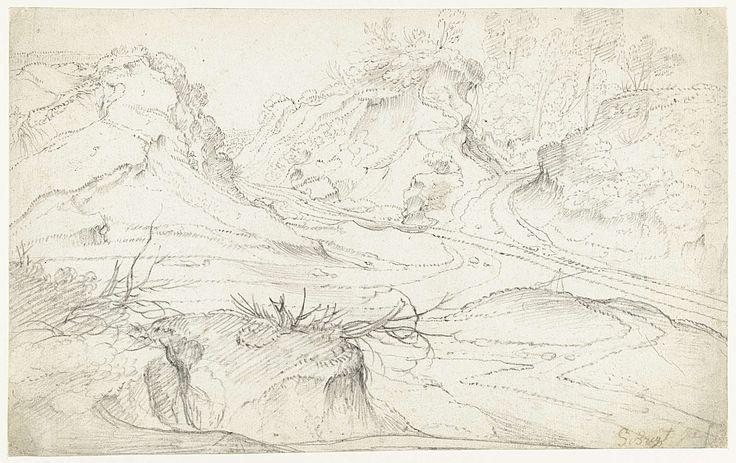 Jan Siberechts | Kruispunt van twee landwegen, Jan Siberechts, 1637 - 1700 | Kruispunt van twee landwegen in een heuvelachtig terrein.