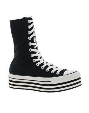 Enlarge Converse All Star Black Flatform Extra High Top Trainers