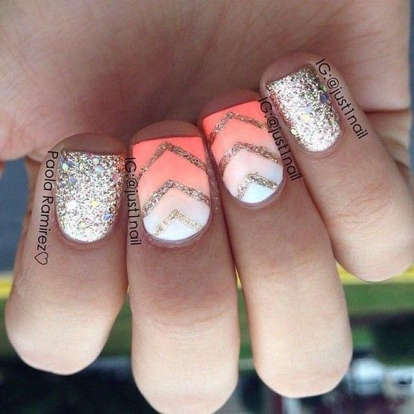 Coral nails with glitter ombre. Prom found on Polyvore
