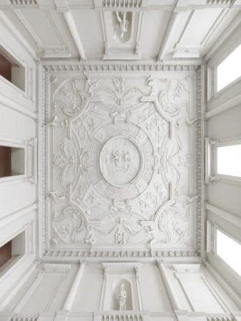 The plasterwork ceiling in the Entrance Hall at Clandon Park, Surrey. The ceiling is attributed to Giuseppe Artari.
