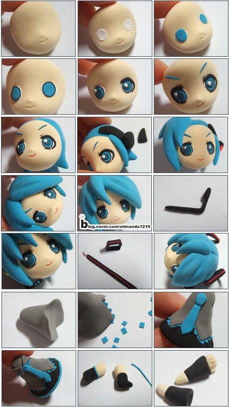 "Turorial : How to make ""Hatsune Miku"" of Vocaloid polymer clay / Tutoriel…"
