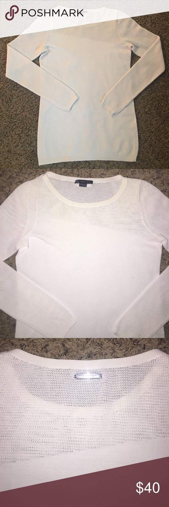 ARMANI EXCHANGE GIGOT SHOULDER AND SLEEVE KNIT TOP What a deal!! 10 MIN SALE! 🔥PICTURES HONESTLY DO NOT DO THIS TOP JUSTICE.  IN EXCELLENT CONDITION WORN JUST A COUPLE OF TIMES.  SUCH A GORGEOUS WHITE PIECE.  VERY CLASSY/SEXY WITH A PAIR OF BLACK LEGGINGS AND KNEE HIGH BOOTS.  IT LOOKS AND FEELS HIGH END WHEN U PUT IT ON.  SIZE SMALL BUT UT STRETCHES SO MEDIUM WILL FIT JUST PERFECT AS WELL.  WHOS GONNA BE THE NEXT BEAUTY TO ROCK THE HECK OUT OF ARMANI ☺️? (FINAL PRICE) XOXO ❤️💋 A/X Armani…