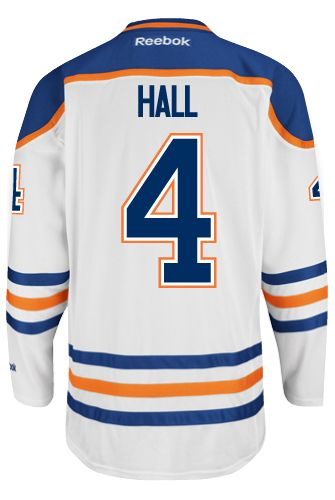 Edmonton Oilers Taylor HALL #4 *A* Official Away Reebok Premier Replica NHL Hockey Jersey (HAND SEWN CUSTOMIZATION)