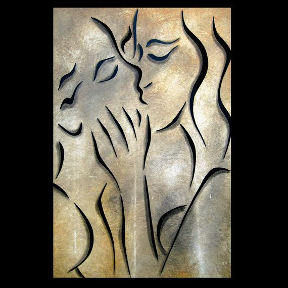 Simple Kiss - Original Large Abstract Contemporary Modern Art LOVE Painting by Fidostudio