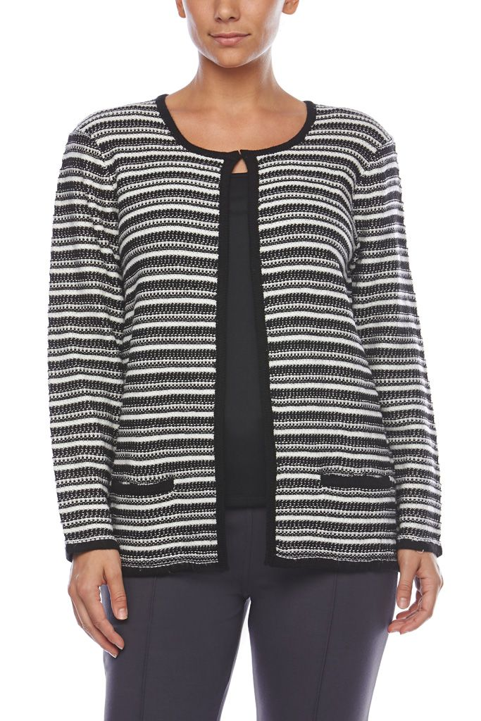 STRIPED CARDIGAN Pretty & feminine, this Noni B cardigan is the perfect accessory in unpredictable weather. The round neck, long sleeve cut layers perfectly over all your looks, while the hook & eye fastening on the neck add practical style.