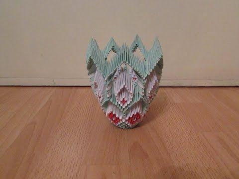 3D Origami Vase Tutorial #6 - YouTube