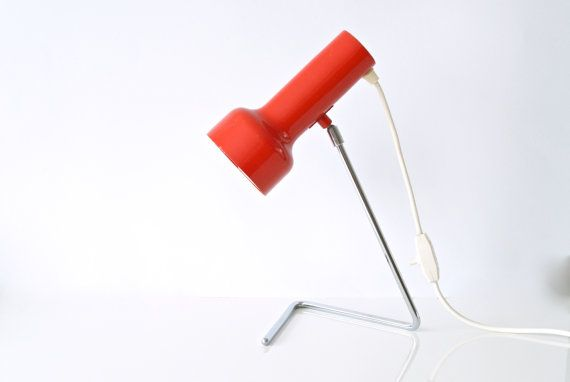 RED TABLE LAMP 1970s Angle Adjustable Spot Lamp by CurialVintage