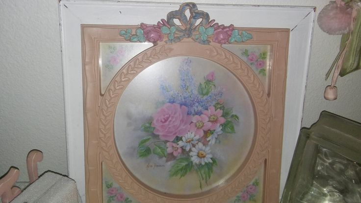 Vintage Homco Signed Ava Freeman Watercolor Pink Roses Pink Ornate Frame Cottage Chic French Country Wall Decor 13 X 15 by karensshabby2chic on Etsy