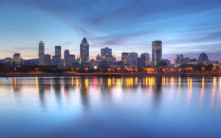 Download wallpapers Montreal, Canada, 4k, cityscape, skyscrapers, night, city lights