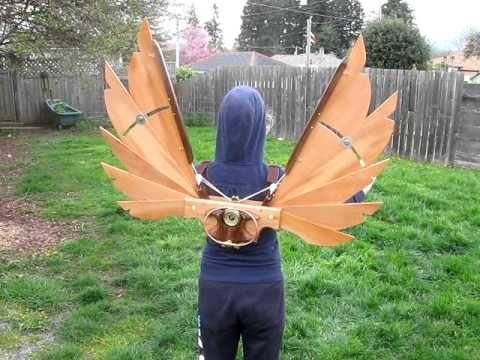 Steampunk Icarus Wings - Handmade - Arbutus, Walnut, Cherry, Leather, Brass