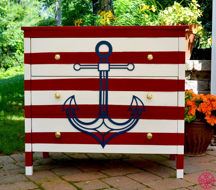 Go overboard with the ANCHOR O'verlays and see how easy it is to create a diy dresser to fit your nautical decor. A little bit of americana to spruce up your summer