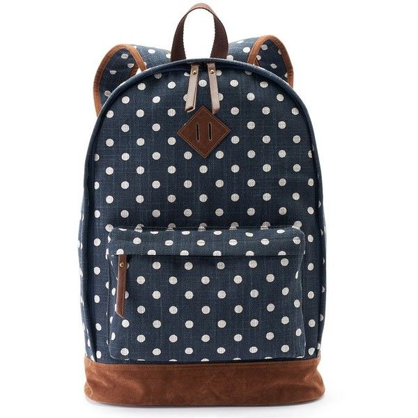 Mudd Tiffany Polka-Dot Dome Backpack (Blue) ($20) ❤ liked on Polyvore featuring bags, backpacks, backpack, blue, blue backpack, dot backpack, top handle bag, polka dot backpack and backpacks bags