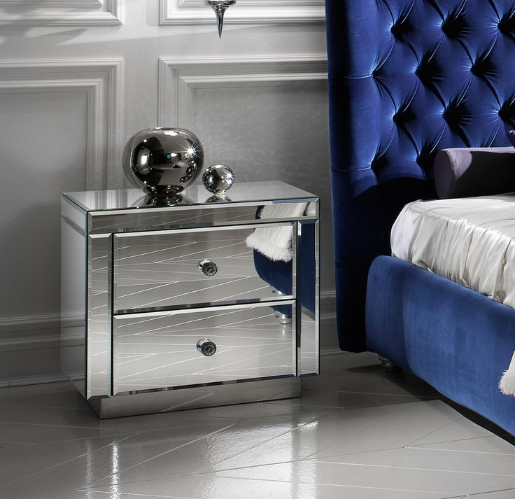 Luxury Venetian Mirrored Bedside Cabinet