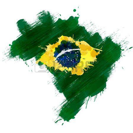 karte brasilien: Grunge map of Brazil with Brazilian flag Illustration