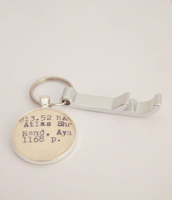 Ayn Rand keychain Atlas Shrugged book key by BytheBookBoutique