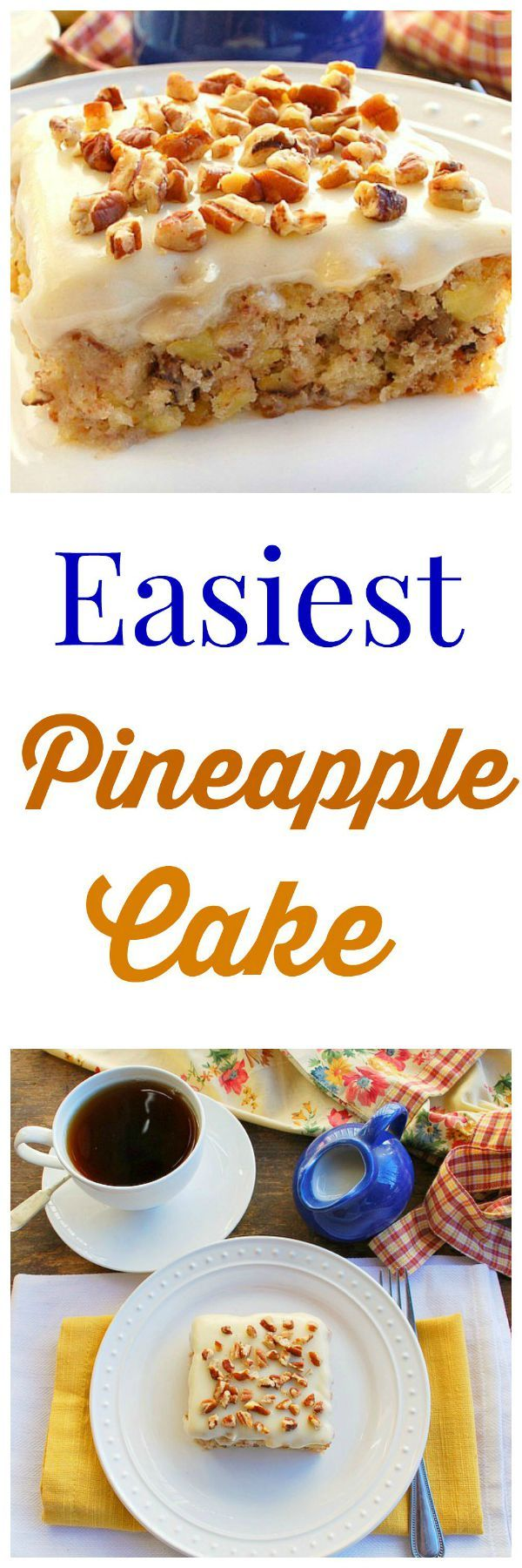 Easiest Pineapple Cake A dense incredibly moist pineapple cake made in one bowl. The cream cheese frosting is put on the cake while it's hot so it seeps into the top of the cake. It's delicious!
