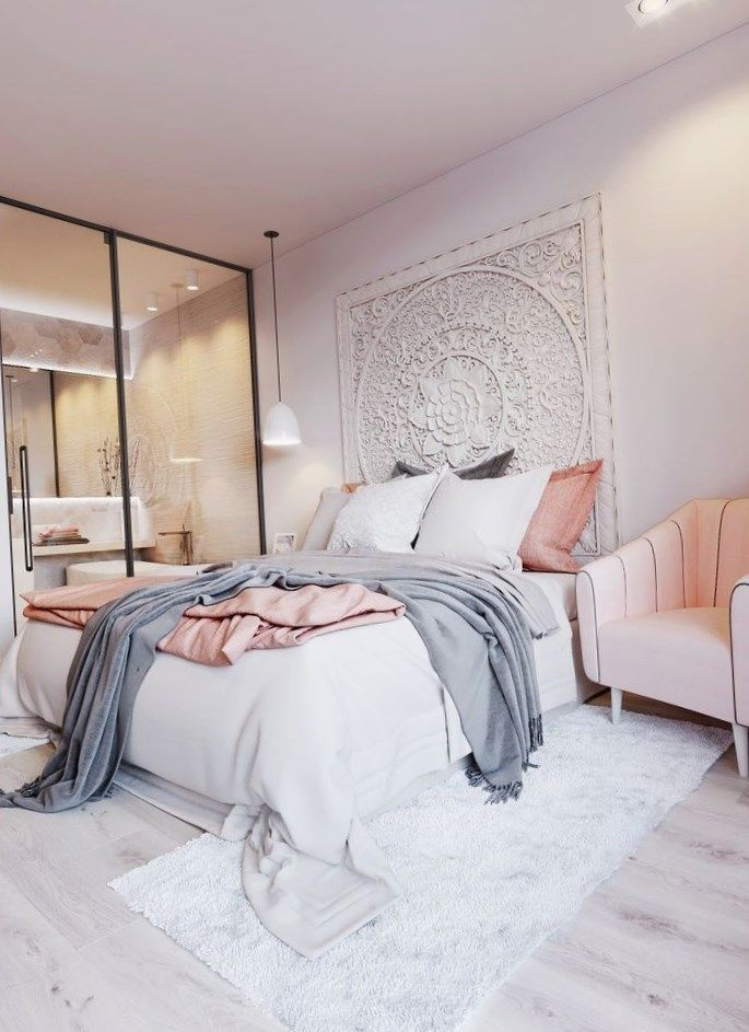 Blush Pink White And Grey Pretty Bedroom Via Ivoryandnoir