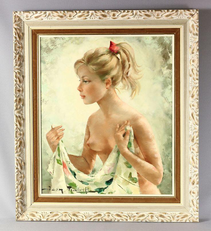 c1960s Igor TALWINSKI, Blonde Girl w/ Red Ribbon, ORIGINAL oil on canvas, POLISH | eBay