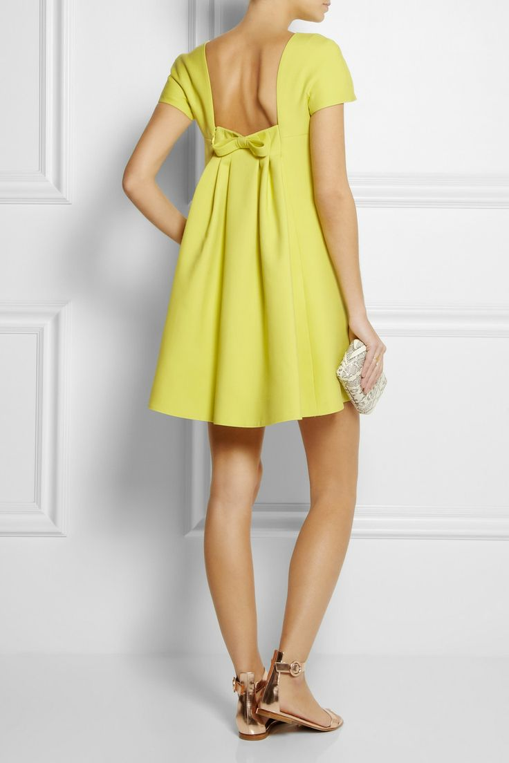 Valentino|Cutout wool and silk-crepe dress |NET-A-PORTER.COM