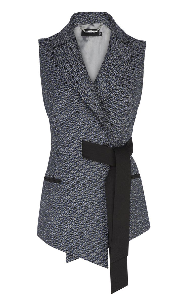 Italian geometric jacquard belted waistcoat, with contrast flattering tie waist detail