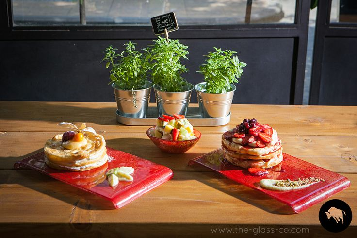 Pancakes presentation for brunch setup. Custom breakfast dinnerware designed by Glass Studio