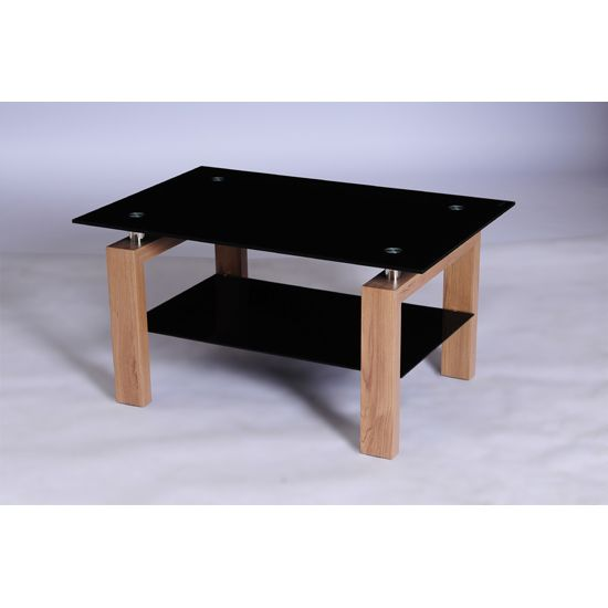 Alina Black Glass Coffee Table With Undershelf And Oak Legs
