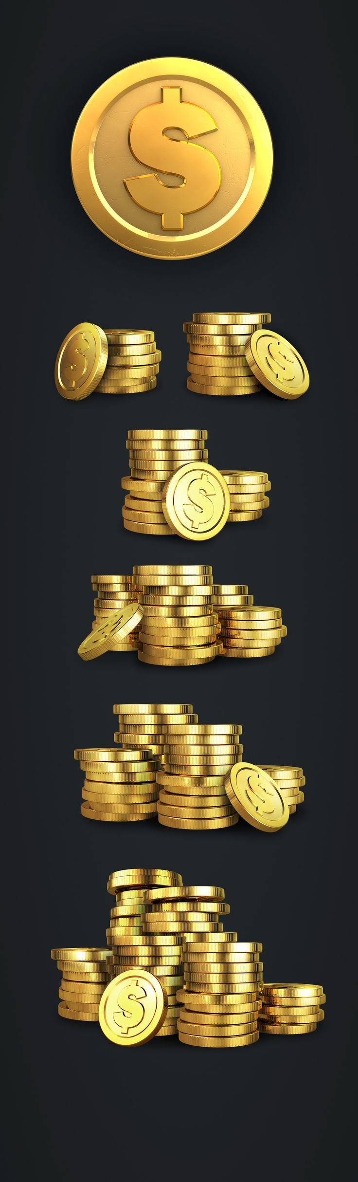 Set of coins for a Slots game on Behance game design coins slots ui ux
