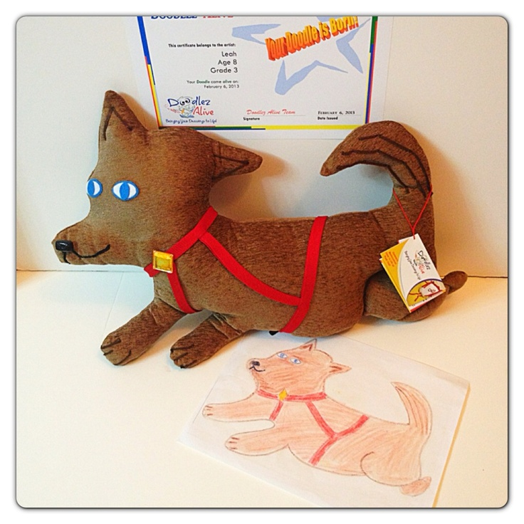 Children's Drawings come to life as Plush Toys!  Each toy comes with a birth certificate with the child's first name, age, grade and day the Doodle was created.