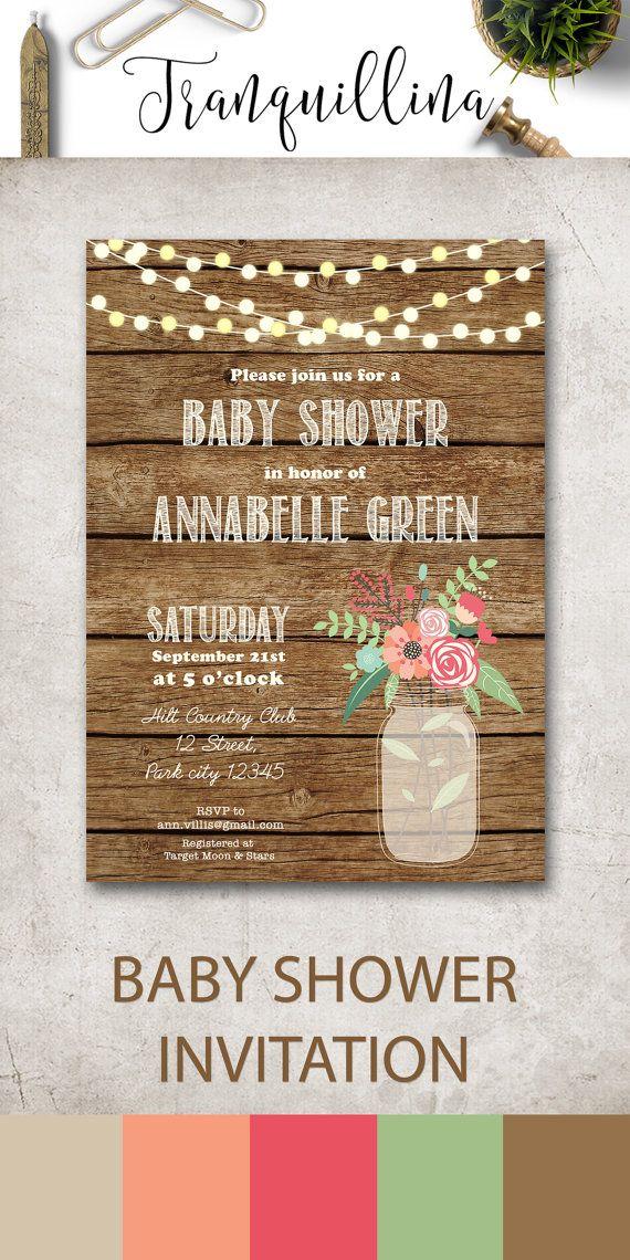 baby shower invitation mason jar baby shower invitation country baby