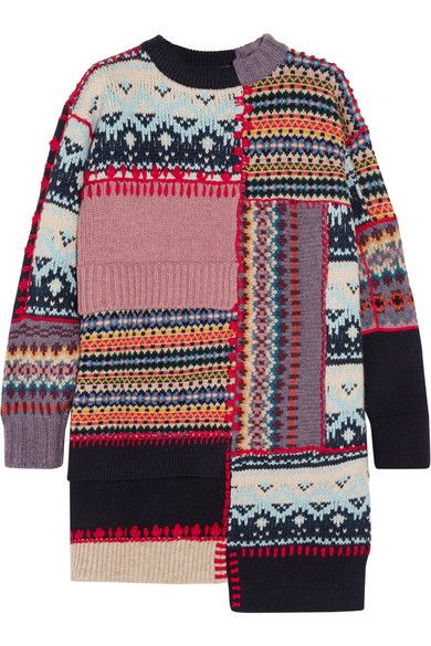 ALEXANDER MCQUEEN CHUNKY KNIT WOOL BLEND DRESS Multicolored wool-blend Slips on 91% wool, 9% cashmere Dry clean Made in Italy