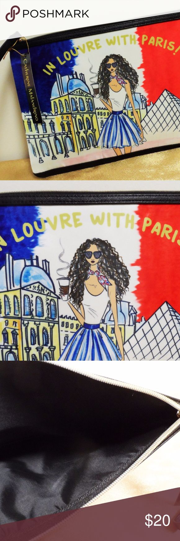 Catherine Malandrino In Louvre w/Paris Travel Bag Catherine Malandrino In Louvre With Paris Travel Makeup Accessory Storage Pouch, new with designer identifier tag, no retail tag. Due to large size with wristlet strap (does NOT detach), could be used as a cosmetic/makeup bag but also hair supplies, school supplies, etc.  Full top zipper, wipe clean slightly shiny nylon and PVC type material on the outside, nylon inside.  No inside pockets. Catherine Malandrino Bags Cosmetic Bags & Cases